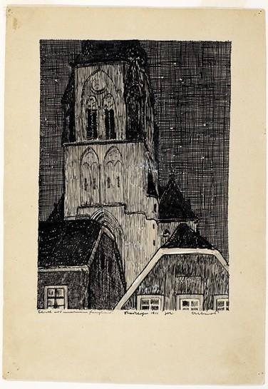 <strong>Josef Albers</strong>, <em>Blick aus meinem Fenster, Stadtlohn 1911 Juli (JAAF 1976.3.1)</em>, 1911