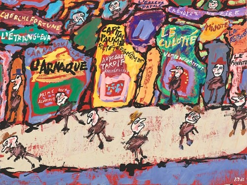 Jean Dubuffet, L'Arnaque (The Swindle), June 2, 1962, Gouache. National Gallery of Art, Washington, Gift of the Stephen Hahn Family Collection, 1995. © 2016 Artists Rights Society (ARS), New York / ADAGP, Paris.