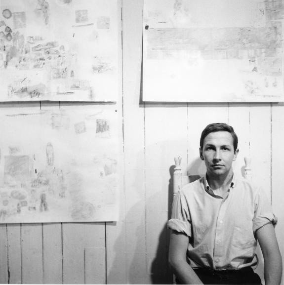 Rauschenberg with three transfer drawings in his Front Street studio, New York, 1958. Photo credit Jasper Johns © The Robert Rauschenberg Foundation (New York, USA)