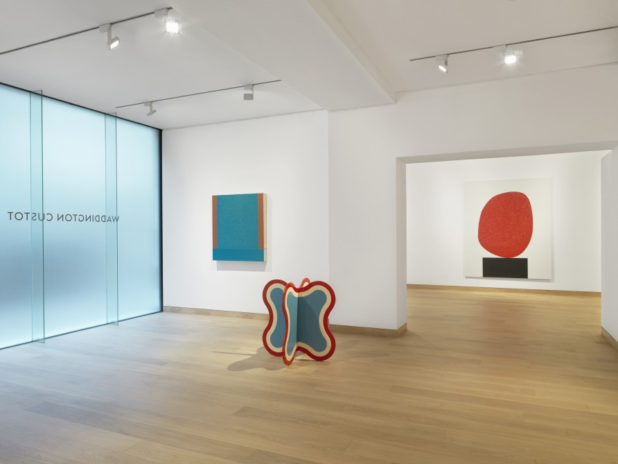 Installation shot of 'Colour is' featuring works by Peter Halley, Paul Feeley and David Batchelor. Photo credit: Todd-White Art Photography.