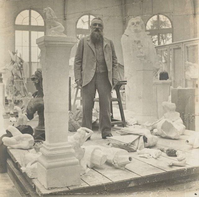 Image: Rodin in his studio amidst his works. Photo credit: Eugène Druet, c.1902