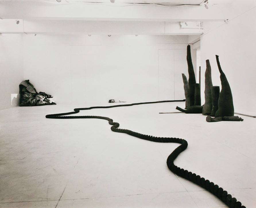 Installation shot at Fischbach gallery, 1969, light on light on sacks and flax, 1969