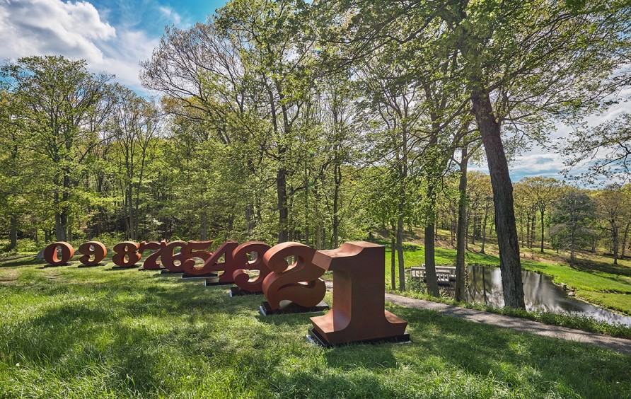 "Robert Indiana. One Through Zero, 1980 - 2003. Corten Steel. Dimensions of each Number: 72 x 72 x 36"" (overall including base 78 x 74 x 38""). © 2017 Morgan Art Foundation / Artists Rights Society (ARS), New York. Edition 5/6. Photo by Tom Powel Imaging."