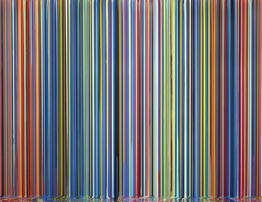 Ian Davenport, Mirrored Place, 2017, acrylic on stainless steel mounted on aluminum panel, 300 x 400 cm