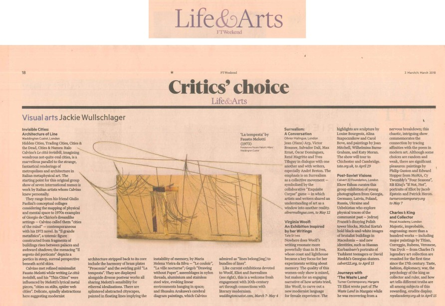 FT Weekend, Critic's Choice
