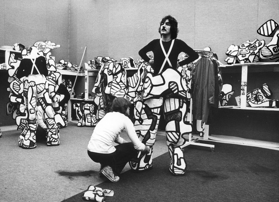 Fitting session during the performances at the Grand Palais, Paris 1973  Photography by K.Wyss © Archives Fondation Dubuffet, Paris