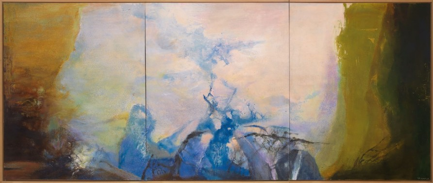 Zao Wou-Ki, Triptyque 1987-1988, painted in 1987-88. Oil on canvas (triptych). Overall: 200 x 486 cm (78¾ x 191⅜ in). Sold for HK$178,000,000 on 25 May 2019 at Christie's in Hong Kong