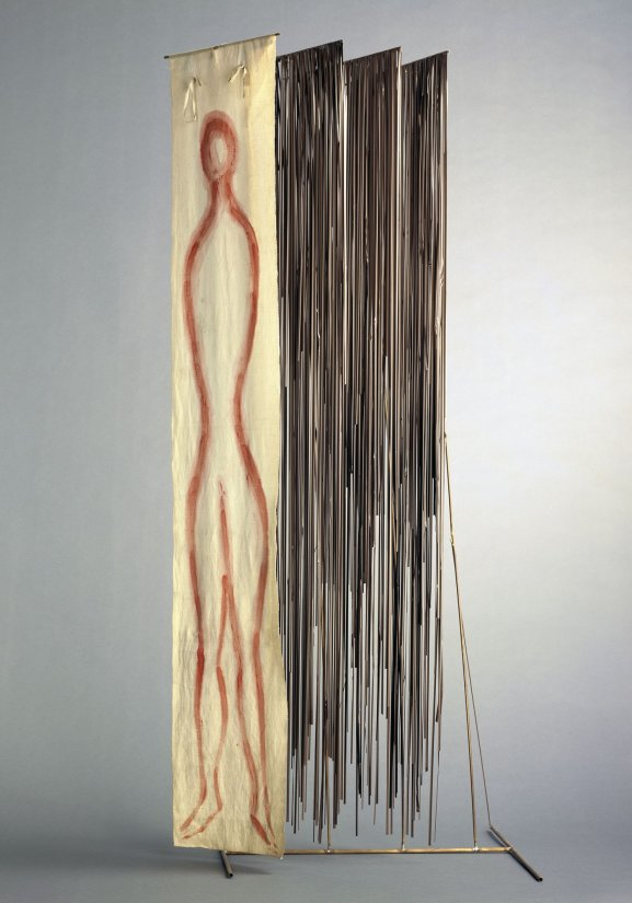 Fausto Melotti, Forgetful Orpheus (Orfeo dimentico), 1975, brass, painted cloth and tape recorder bands, 185 x 70 x 53 cm, Marta Melotti Collection, Milan