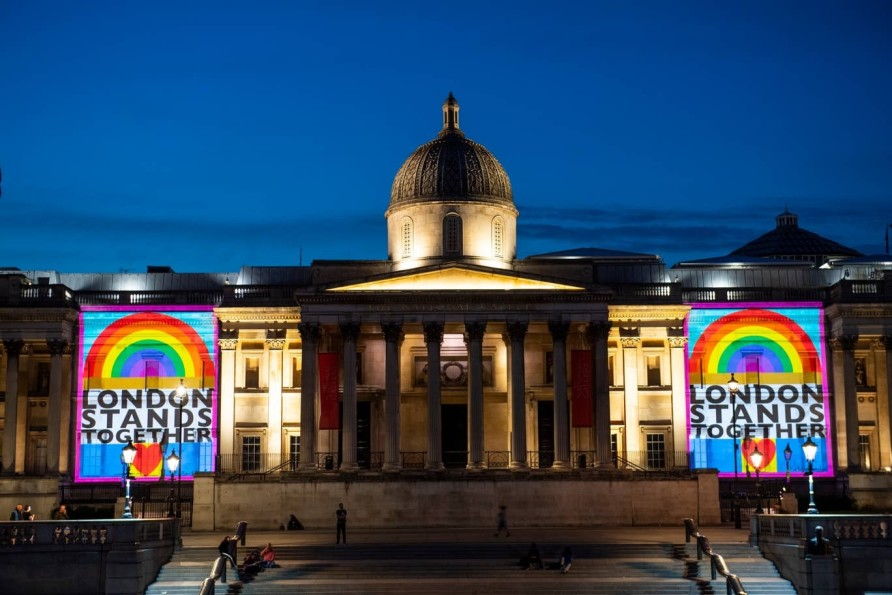 Peter Blake's artwork projected onto National Gallery