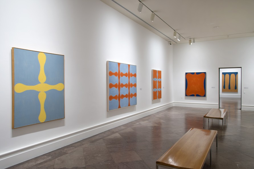 Installation view of Imperfections By Chance: Paul Feeley Retrospective, 1954–1966. Photograph by Tom Loonan. Image courtesy the Estate of Paul Feeley and Garth Greenan Gallery, New York