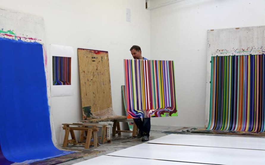 Ian Davenport working in his studio in Peckham, London