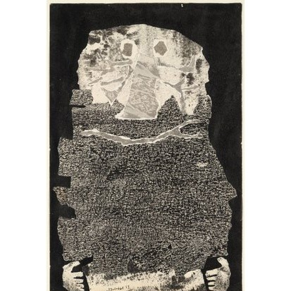 Jean Dubuffet (French, 1901–1985). Le Vin de barbe. 1959. Torn-and-pasted paper with ink and ink transfer on paper, composition and sheet: 20 x 13 1/4