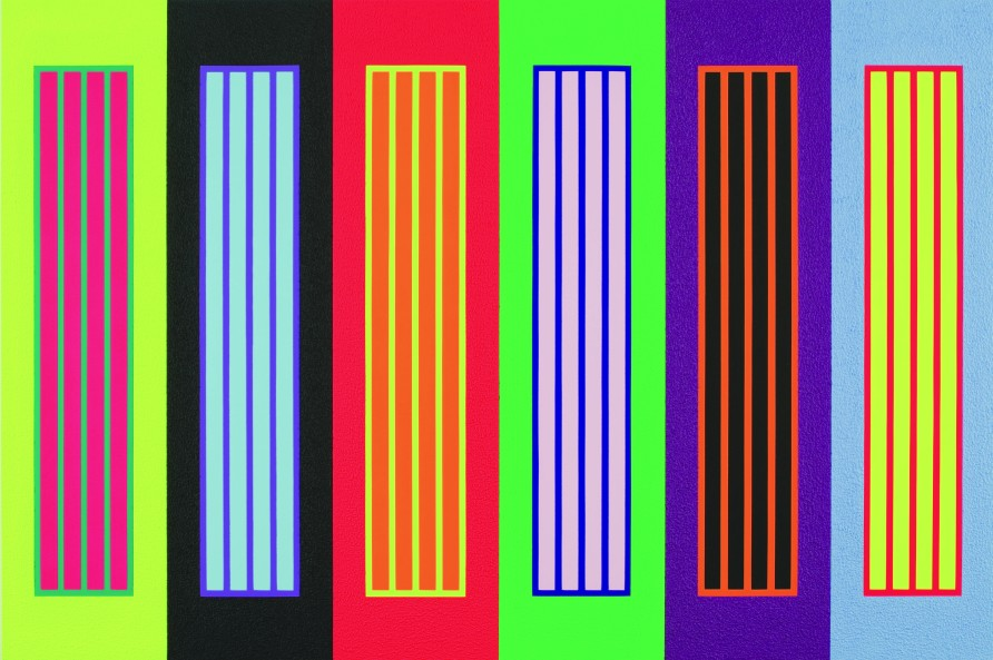 Peter Halley, Laws of Rock, 2008, acrylic, fluorescent acrylic, and roll-a-tex on canvas, 75 in. x 112.5 in., Tatintsian Collection.