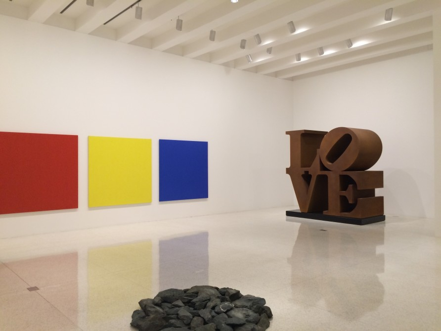 exhibition view with Robert Indiana