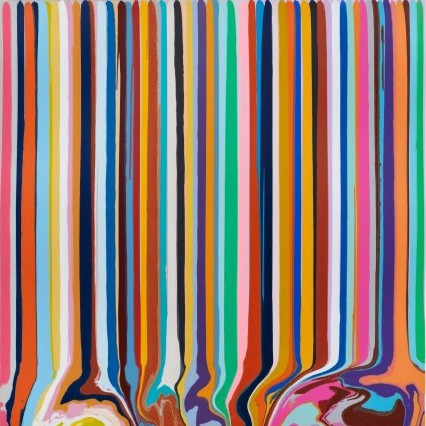 Ian Davenport, Duplex Etching: Grey, Lavender, 2014, one in a set of 4 etchings with chine-collé, 45 3/4 x 44 1/2 in.
