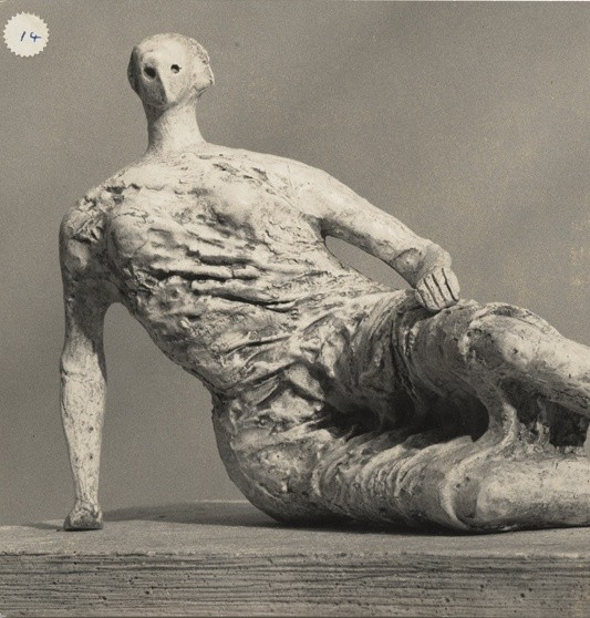 Henry Moore, Draped Reclining Woman (plaster maquette for UNESCO commission 1956-7), 1957-56, silver gelatin print (Lidbrooke), 7 x 9 1/4 in / 17.8 x 23.5 cm