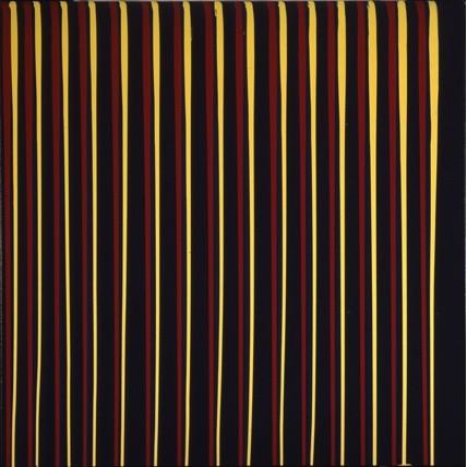 Ian Davenport, Dark Grey, Yellow, Blue, Red, 1992, oil on canvas, 167.6 x 167.6cm