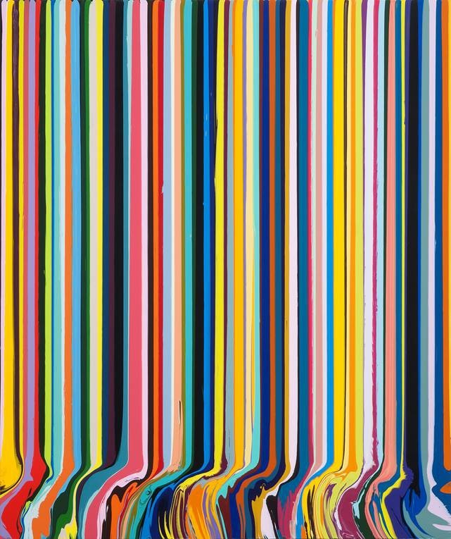 Ian Davenport, Colourcade: Yellow and Black, 2015, acrylic on stainless steel mounted on aluminium, 148 x 123 cm