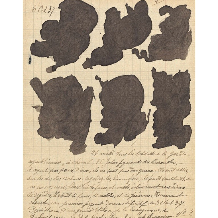 Jeanne Tripier, Petit dossier nº 10 (Little folder no. 10), c.1935–1939, ink, varnish, and sugar on paper, page size between 8 5/8 x 6 3/4 in. and 13 5/8 x 8 5/8 in., Collection de l'Art Brut, Lausanne, Switzerland. Photo © Collection de l'Art Brut, Lausanne, by Jean-Marie Almonte and Michael Legentil, Atelier de numérisation—Ville de Lausanne.