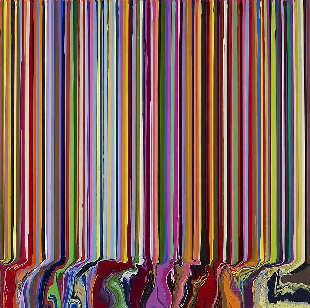 Ian Davenport, Colorfall: Spectroscopic, 2013, acrylic on stainless steel mounted on aluminum panel, 200 cm x 200 cm. Courtesy Paul Kasmin Gallery. Photography by Prudence Cuming Associates, London