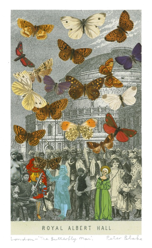 Peter Blake, London– 'The Butterfly man.' (Royal Albert Hall), 2012, collage on paper, 9 1/2 x 5 1/2 in / 24 x 14 cm (not included in the Grand Tour exhibition)