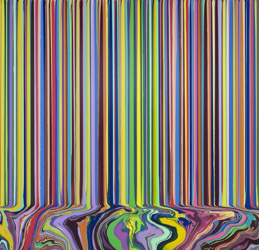 Ian Davenport, Colourcade: Yellow, Magenta, 2015, acrylic on stainless steel mounted on aluminium panels (2 panels), 200 x 200 cm