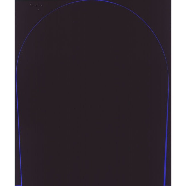 Ian Davenport, Poured Painting: Black, Dark Blue, Black, 1998, household oil paint on medium density fibreboard, 72 x 60 in / 183 x 152.4 cm