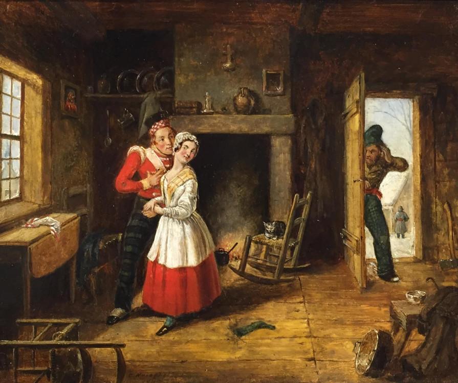 Cornelius Krieghoff (1815-1872), Le mari jaloux, vers 1845, huile sur carton, 8 x 9 1/2 po.