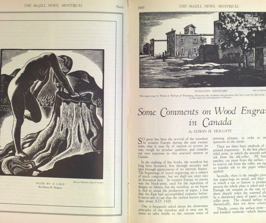 Fig. 6 Pages 22 and 23 from McGill News with part of Holgate's article and its introductory illustration, Nude by a Lake