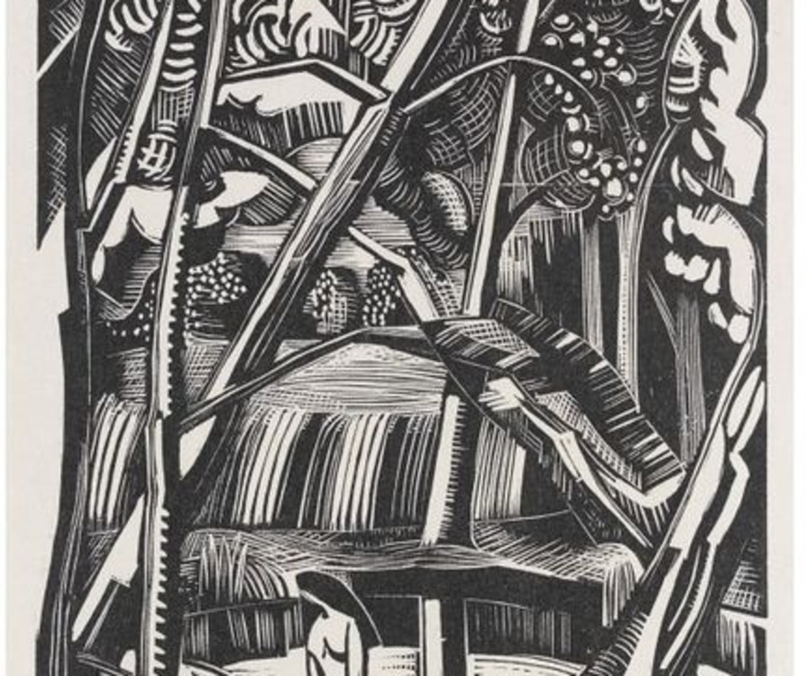 Fig. 2 Paul Nash, Black Poplar Pond, 1921, plate 2 from Places, wood engraving on paper, 15.2 x 11.4 cm