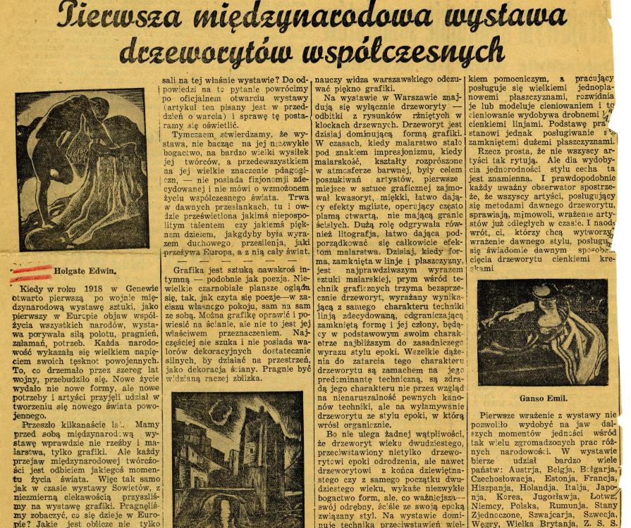 """Fig. 5 Clipping of Mieczysław Sterling's """"Pierwsza międzynarodowa wystawa drzeworytów współczesnych"""" from Kurjer Poranny, (Warsaw, Poland), 11 September 1933"""