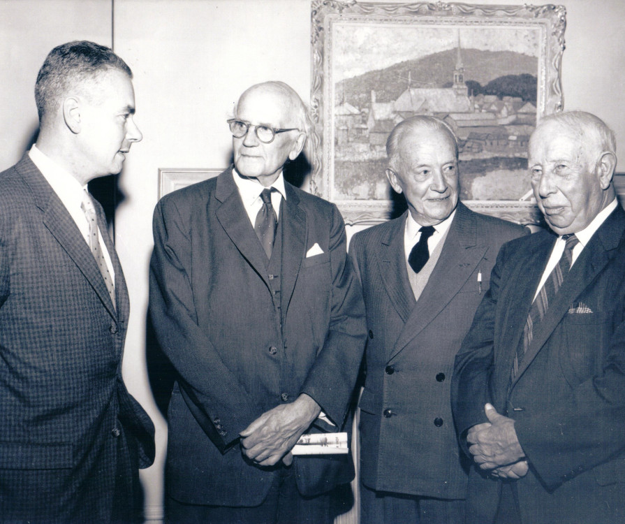 Fig. 3 Walter Klinkhoff, Arthur Lismer, Edwin Holgate, and A.Y. Jackson at the Randolph Hewton Retrospective at Walter Klinkhoff Gallery in October 1962