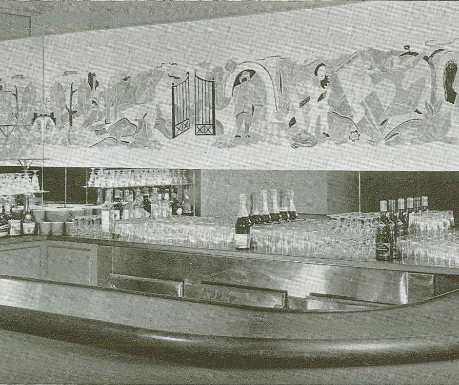 Fig. 6 Brandtner's mural above a bar in the Berkeley Hotel (now part of the Maison Alcan building structure).
