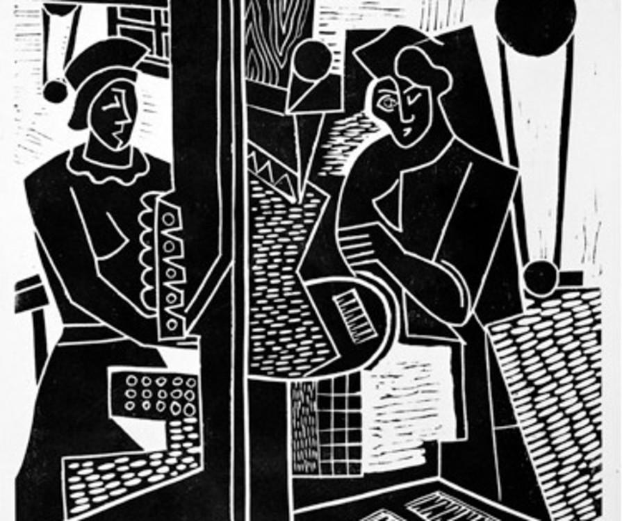 Fig. 2 Fritz Brandtner, Machine Shop, 1938, linocut on paper, Glenbow Museum Collection