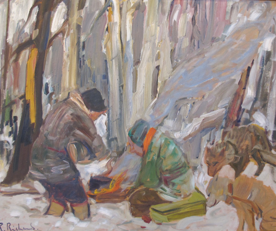 Trappers and dogs, oil on canvas, 24 x 30