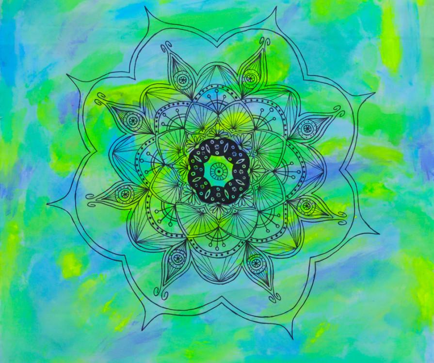 Alyssa Obrand, Lotus on Water, ink & tempera on linen