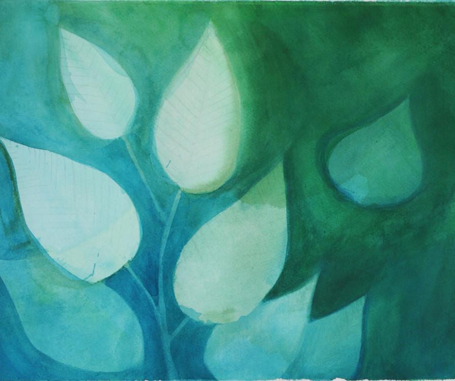 Noah Wou, Leaves, acrylic