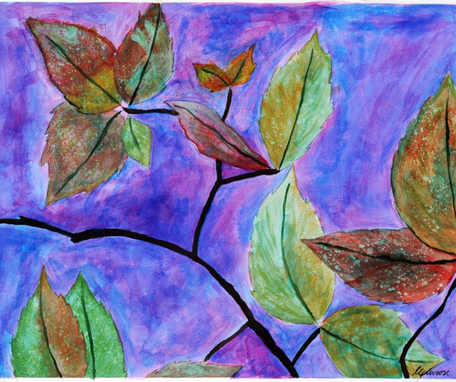 Marcus P, Leaves II, acrylic on paper