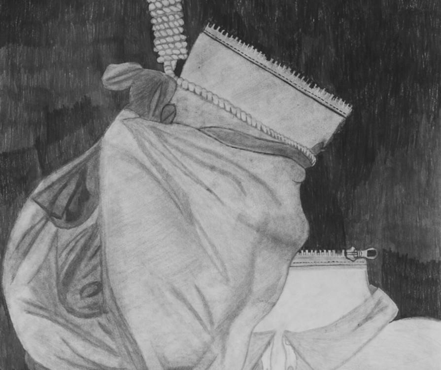 Evan Gardiner, zipper man, graphite