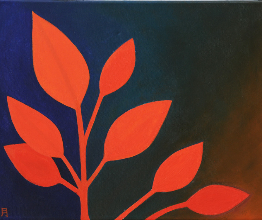 Noah Wou_Orange, Leafs, acrylic