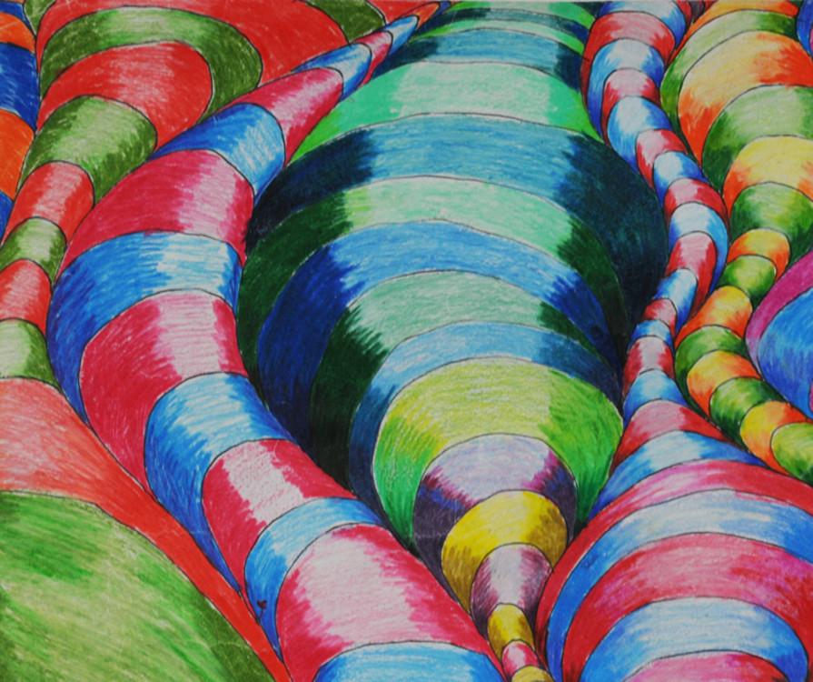 Nicolas Briere, Detail of 3D Izzabelle Design, colour pencil