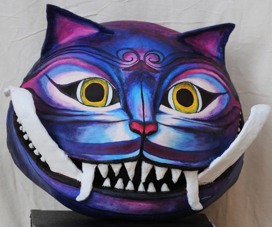 Danova Gardilcic, Rangda Cheshire Cat Mask, plaster of paris& acrylic