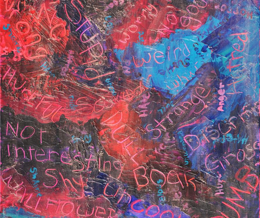 Emma Harries, Words 2, acrylic on canvasboard, 11 x 14