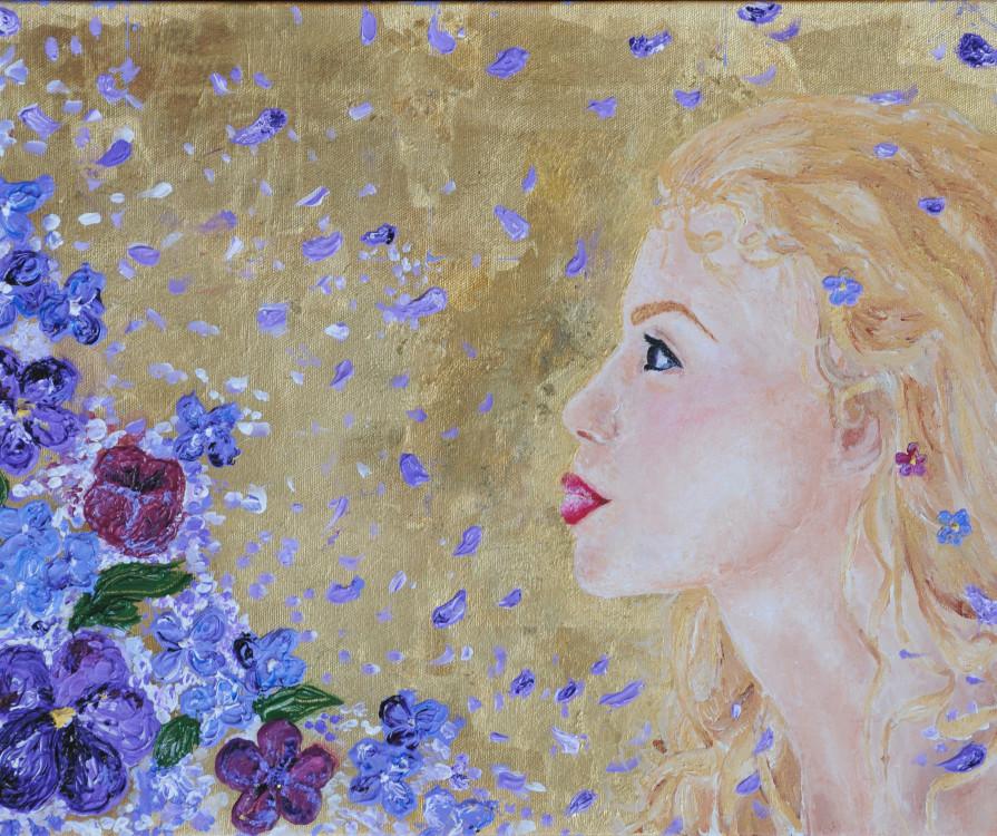 Bradley Shepherd, Klemt Lady, gold leaf and acrylic on canvas, 11 x 18