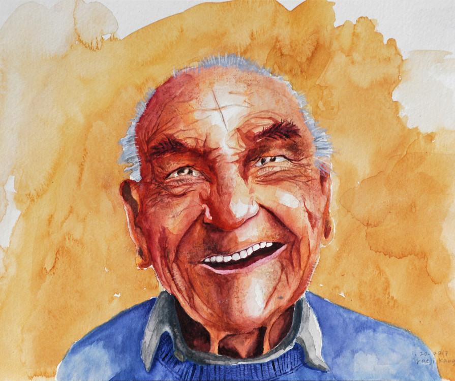 Yaeji Kang, Old Man, watercolour, 14 x 18