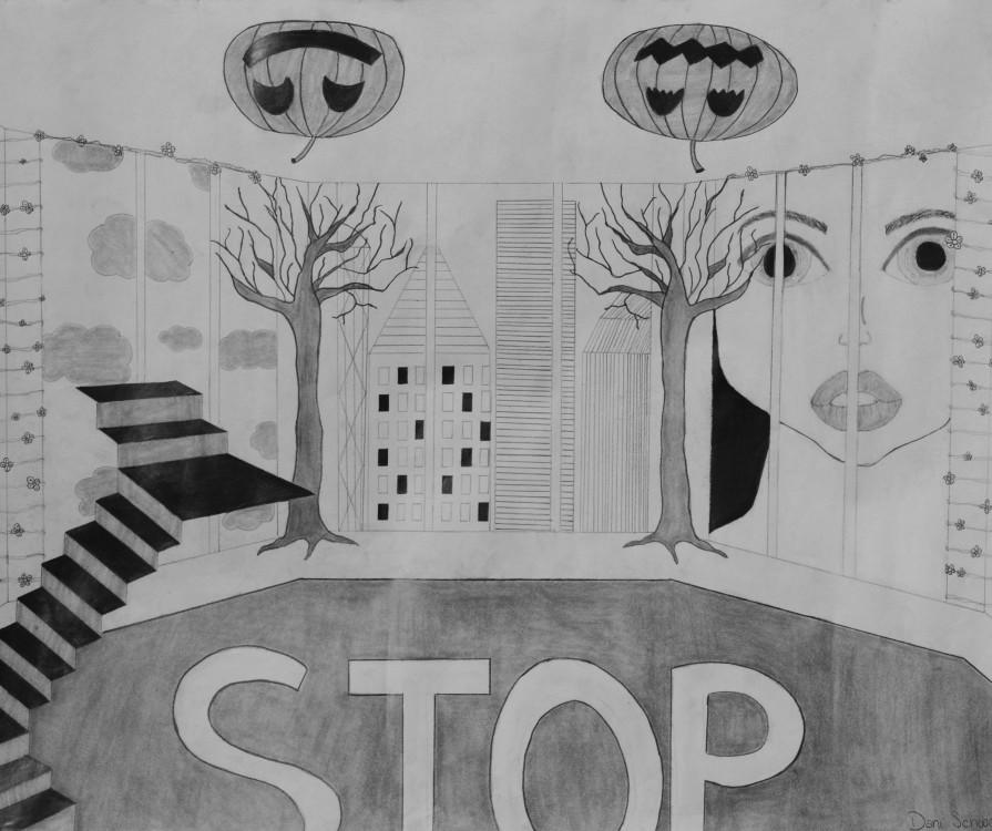 Dani Schwartz, Surrealist Interior Landscape, graphite, 18 x 24