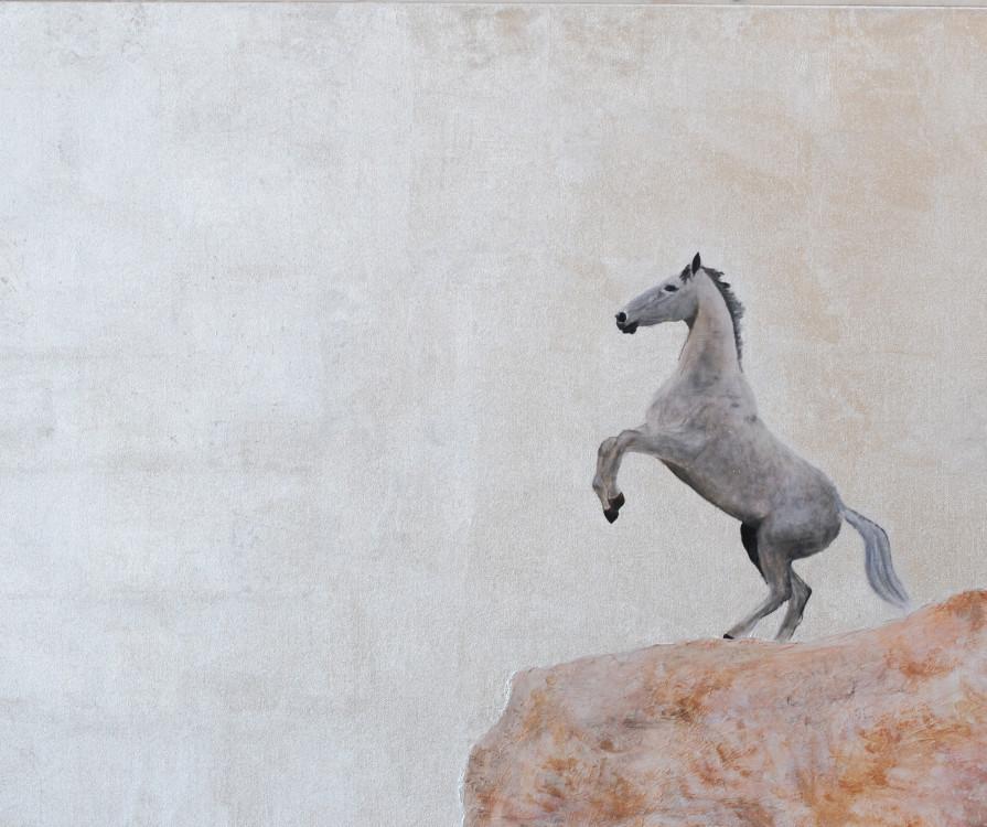 Madeleine Bienvenu, Horse on a Hill, acrylic on canvas, 14x11