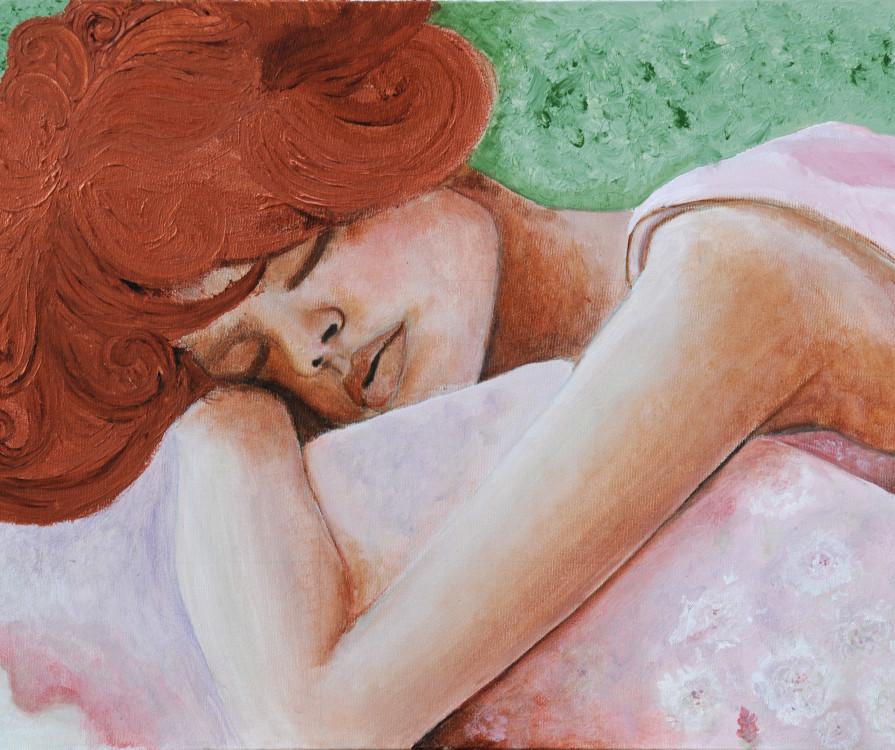 Madeleine Bienvenu, Gibson Girl, acrylic on canvas, 20x30