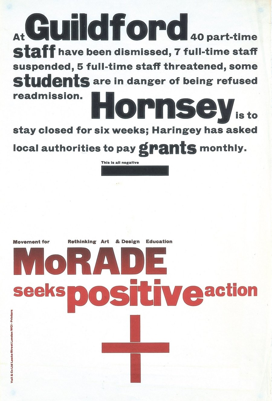 <p>MoRADE Seeks Positive Action poster for the Movement for Rethinking Art & Design Education. Design by Richard Hollis, 1968.</p>
