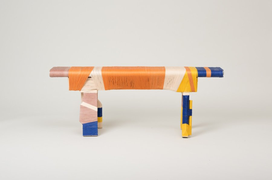 <p><strong>Anton Alvarez</strong>, The Thread Wrapping Machine Bench 3, 2013</p><p>Wood, glue-coated thread</p><p>47 H x 121 W x 22 D cms</p><p>Open series</p><p>Photography by Paul Plews</p>